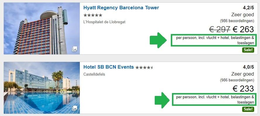 Voorbeeld goedkoop vliegticket met hotel in 1 pakket prijs