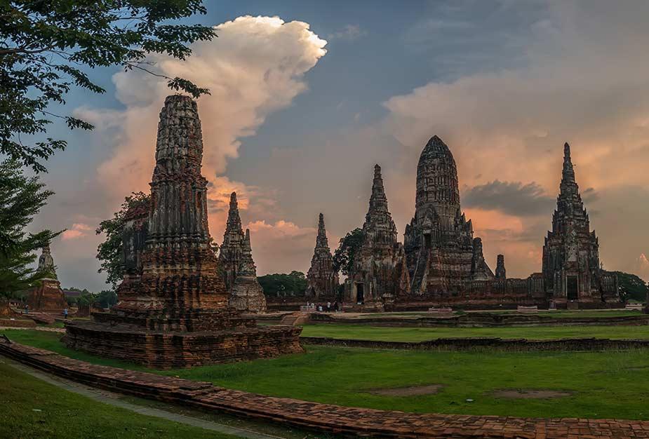 Het oude tempel complex bij Ayutthaya-