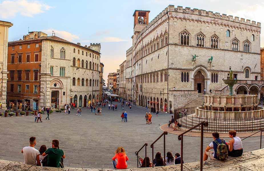 Historisch plein in het centrum van Perugia in Umbrie
