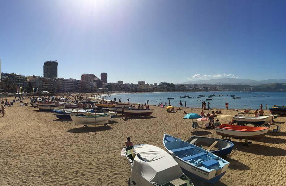 Het strand van Las Palmas de Gran Canaria