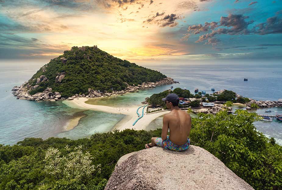 Genieten van strand op Koh Tao