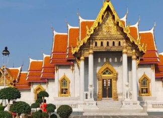 Vooraan zicht van de Wat-Benchamabophit tempel in Bangkok