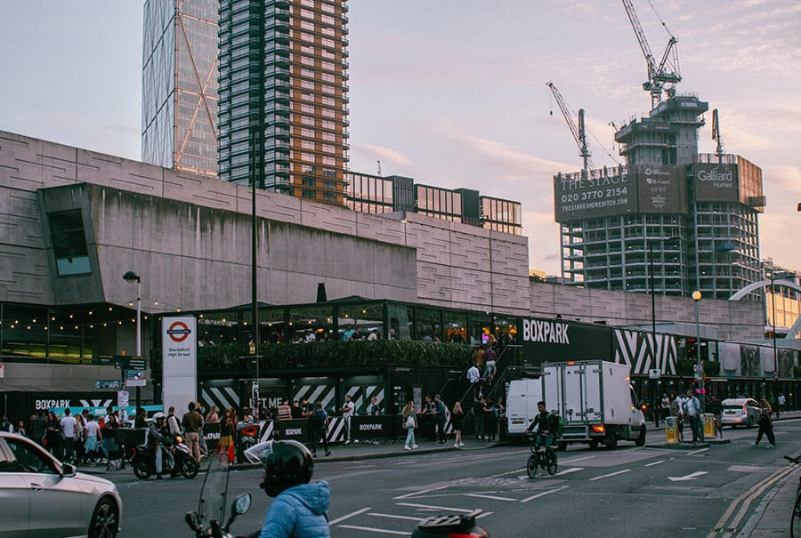 boxpark in londen shoreditch