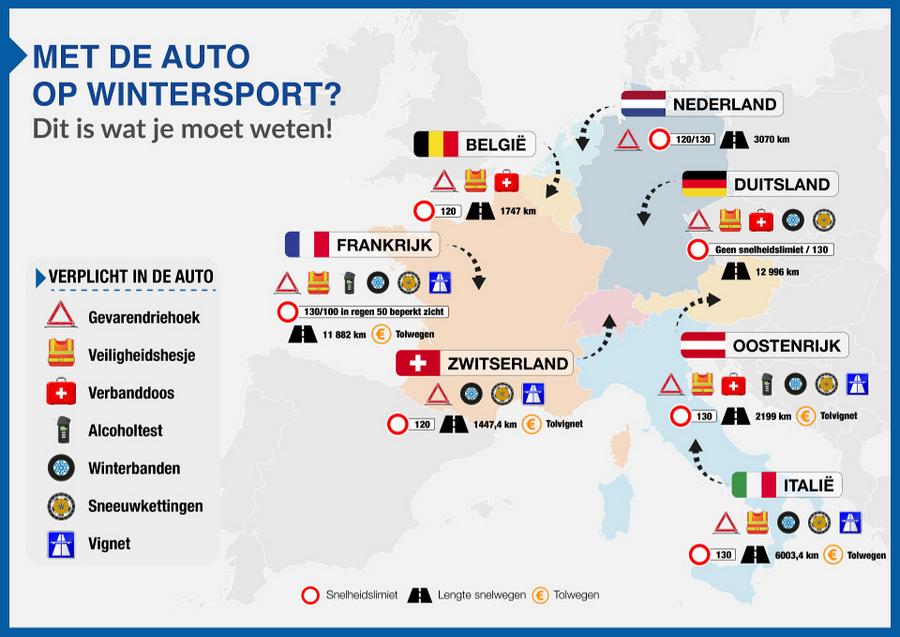 Infographic: met de auto op wintersport? Dit is wat je moet weten!