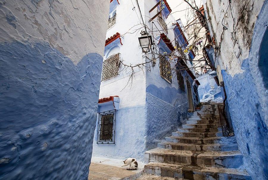 Chefchaouen in Marokko blauwe stad
