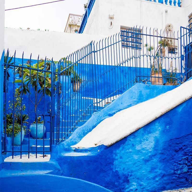 De kleur blauw zie je veel in Rabat