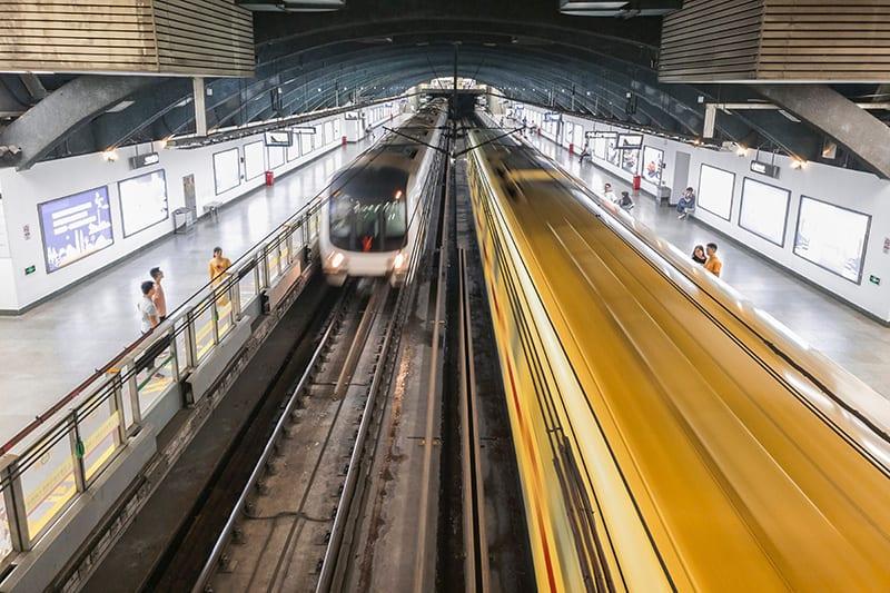 drukte bij de metro in Guangzhou China