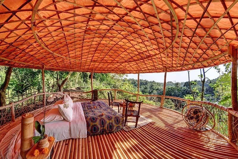 Slapen in een van de leukste hotels op Bali: in de tent kamer in Bambu Indah