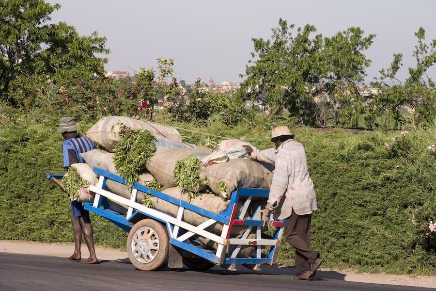 Handelaren met hun handelswaar op de weg