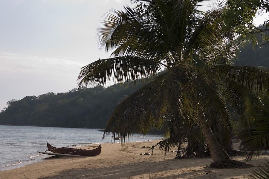 Een tropisch eilandje met palmbomen in Madagaskar