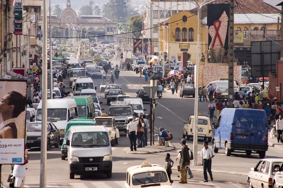 Een straat in de hoofdstad Antananarivo, de start van de Madagaskar reis