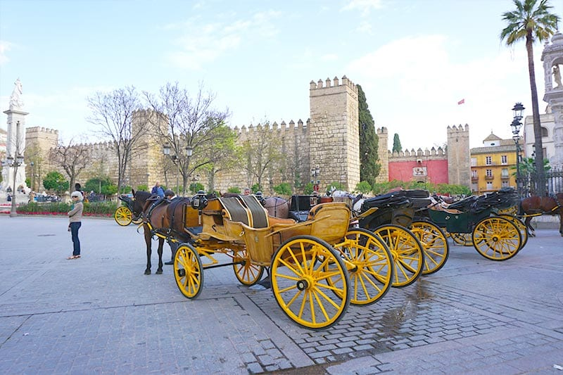 Paard en wagen bij Real Alcazar in Sevilla