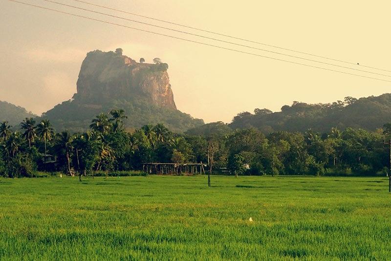 Een van de hoogtepunten van een reis door Sri Lanka: de Sigiriya rock in Sri Lanka