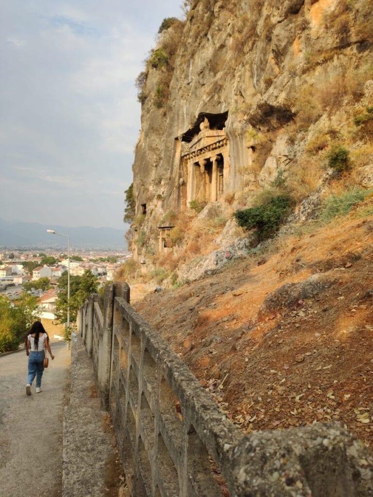 Tombe van Amyntas en bergen in Fethiye