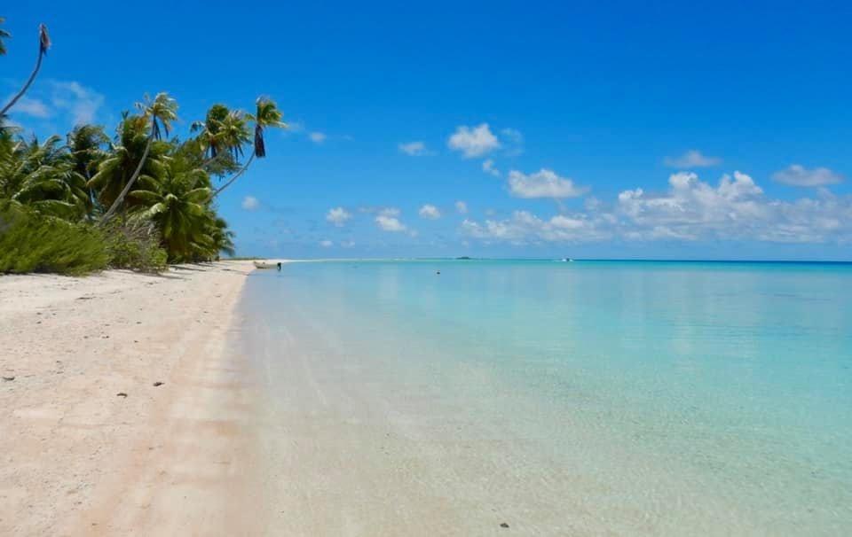 strand en heldere zee bij Frans Polynesie