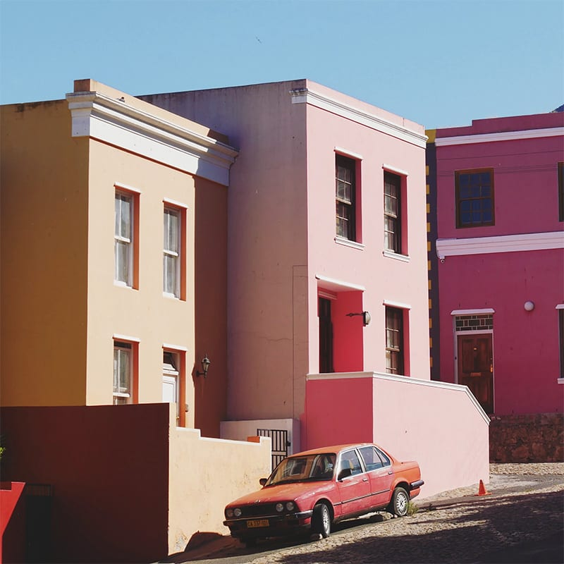gekleurde huizen in kaapstad