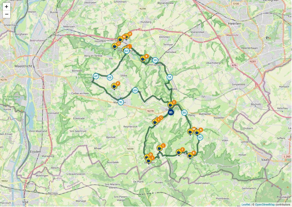 Kaart van de Geul en Gulp fietsroute in Limburg
