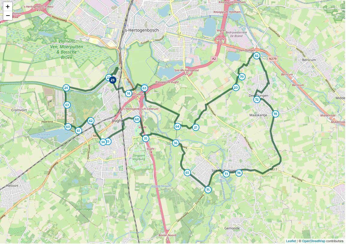 Kaart van de Liberation fietsroute in Brabant
