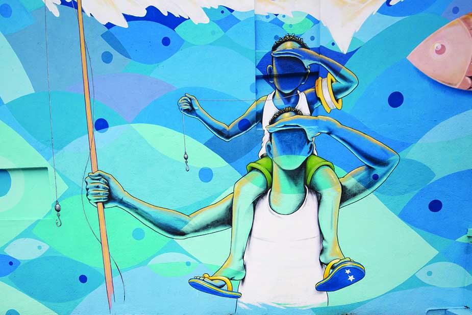 street art curaçao met kinderen