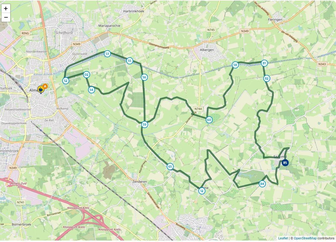 Kaart van de fietsroute Waterreggeroute in Overijssel