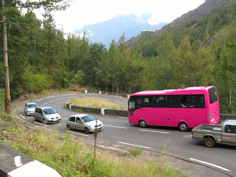 De haarspeldbochten onderweg op La Réunion