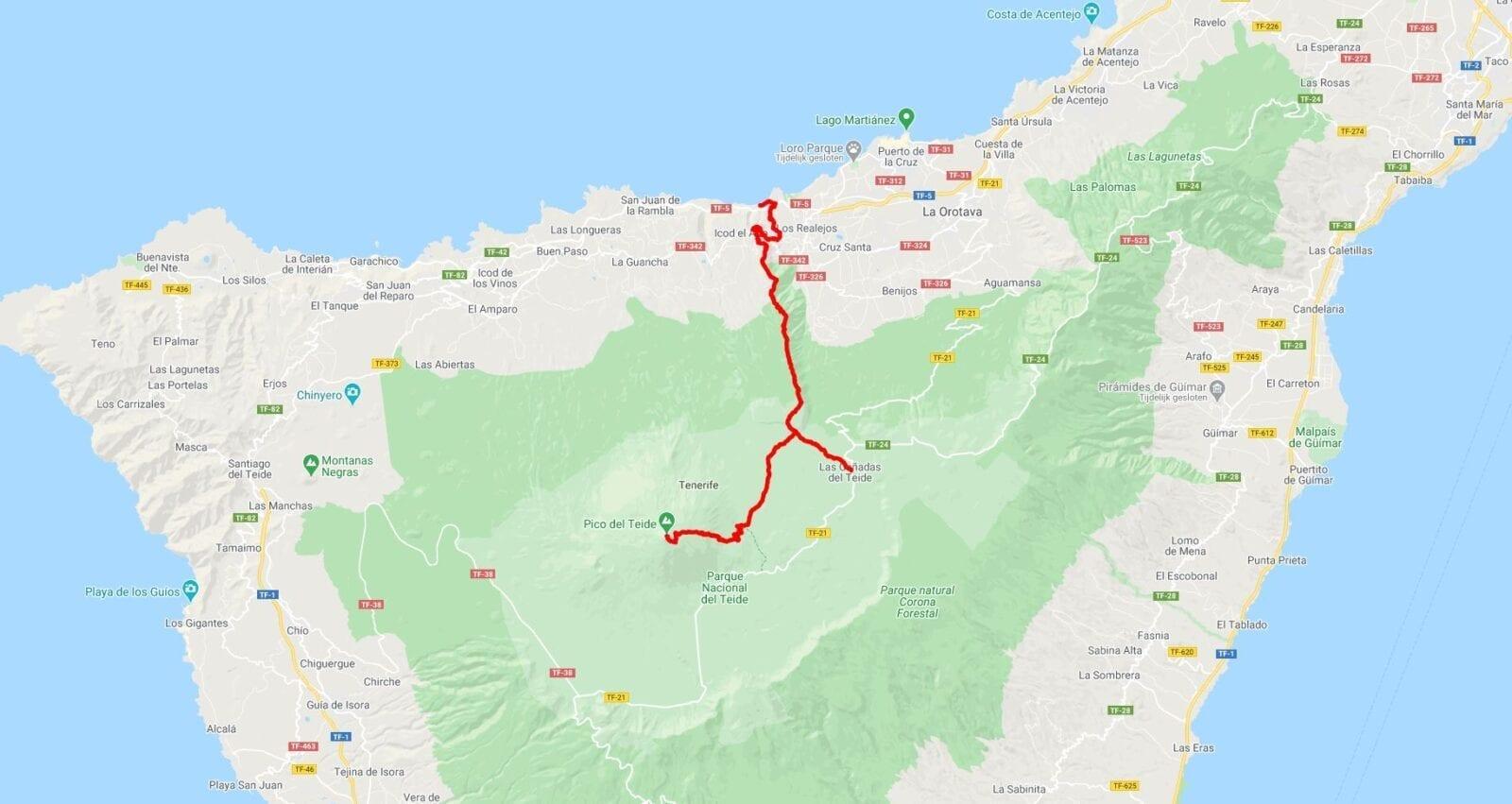 Route van de zware hike in Spanje op Tenerife