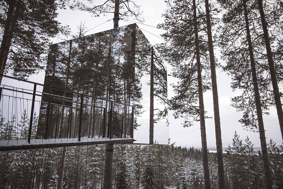 slapen in een boomhut in de zweedse natuur