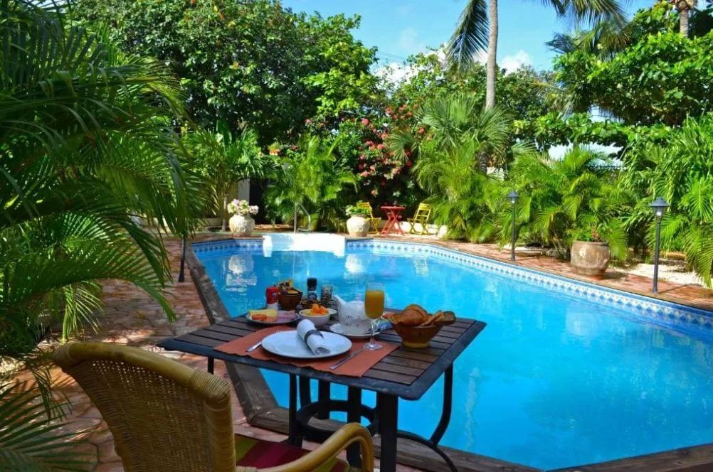 Ontbijt bij het zwembad van Wonders Boutique hotel Aruba