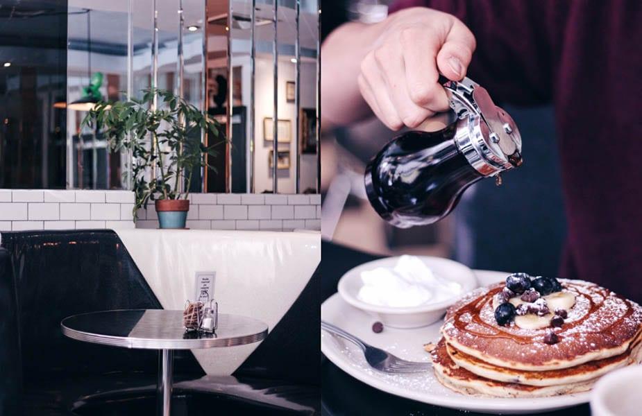 american pancakes bij champs diner eten in new york
