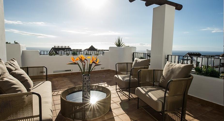 Het balkon van een appartement in Las Terrazas