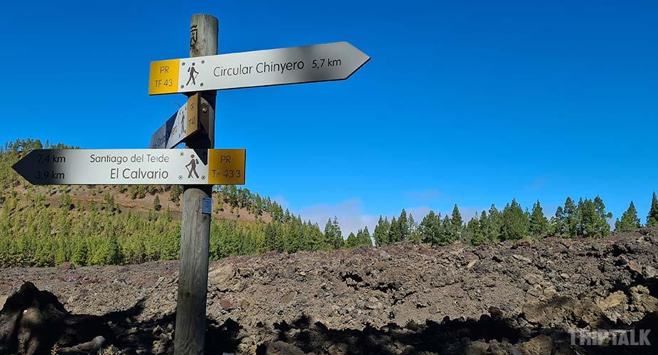 Wandelroute bordjes op Tenerife