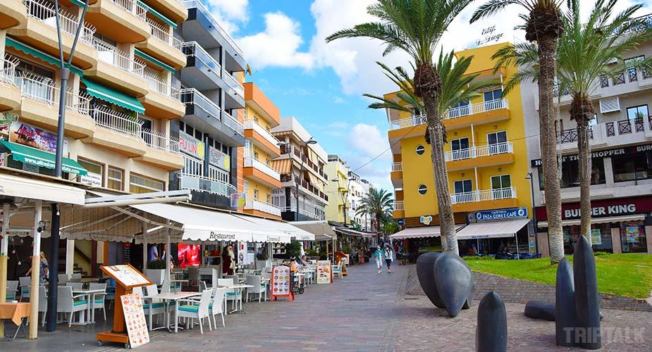 Restaurants aan de boulevard van Los Cristianos