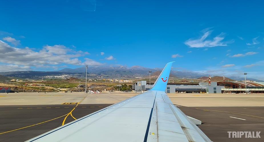 Zicht op de Teide vanuit het vliegveld Tenerife sur