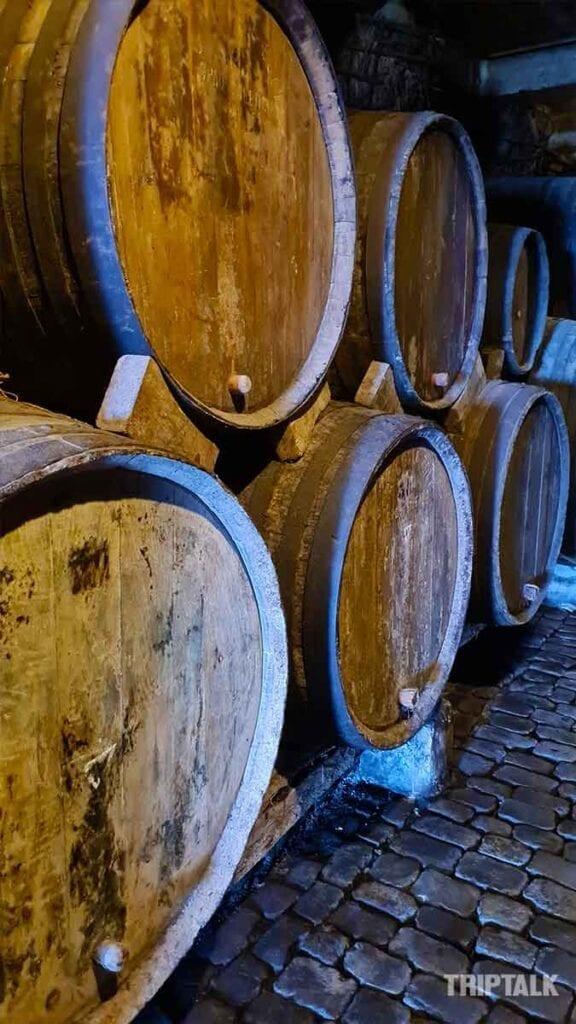 Oude wijnvaten in de bodega
