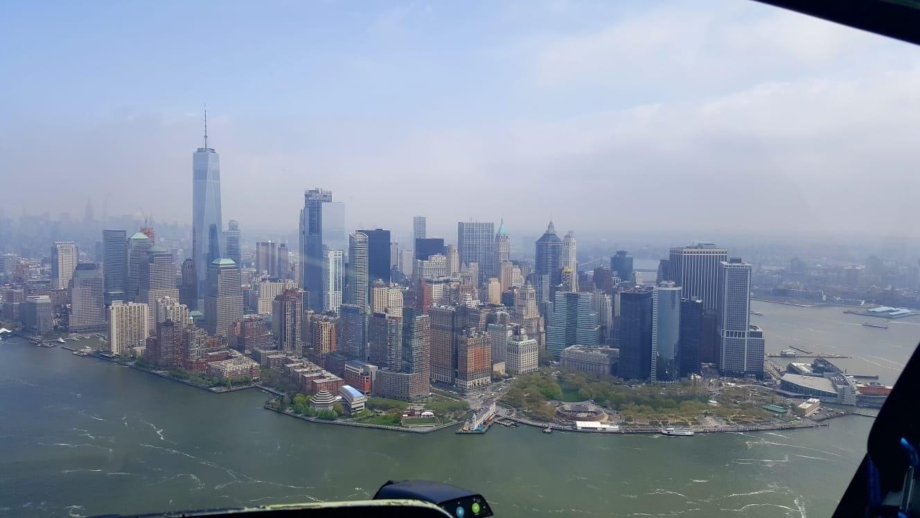 Zicht op Manhatten vanuit de helikopter
