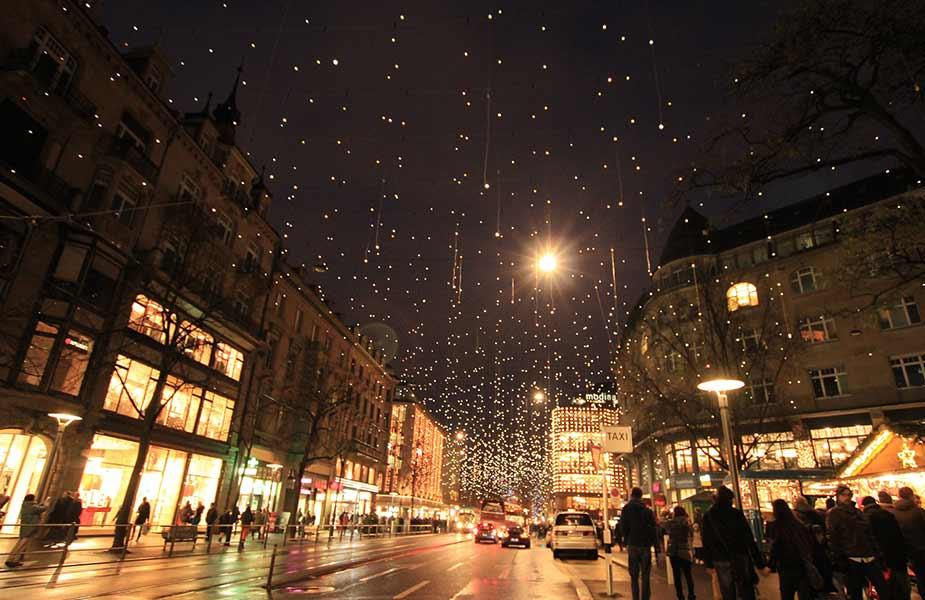 Bahnhofstrasse Zurich tijdens Kerst