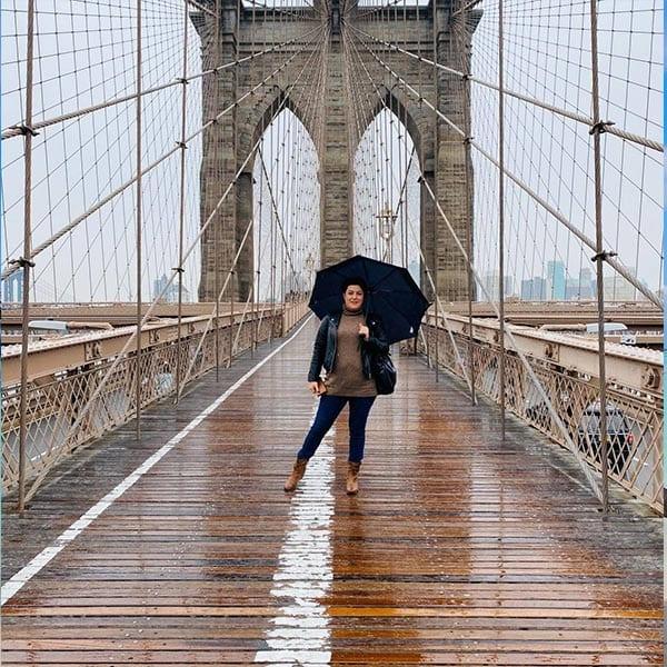 Valleria op de Brooklyn Bridge in New York