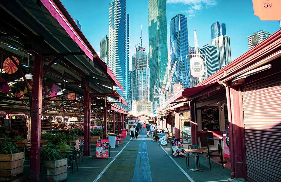 Food stalletje bij de Queen Victoria market in Melbourne