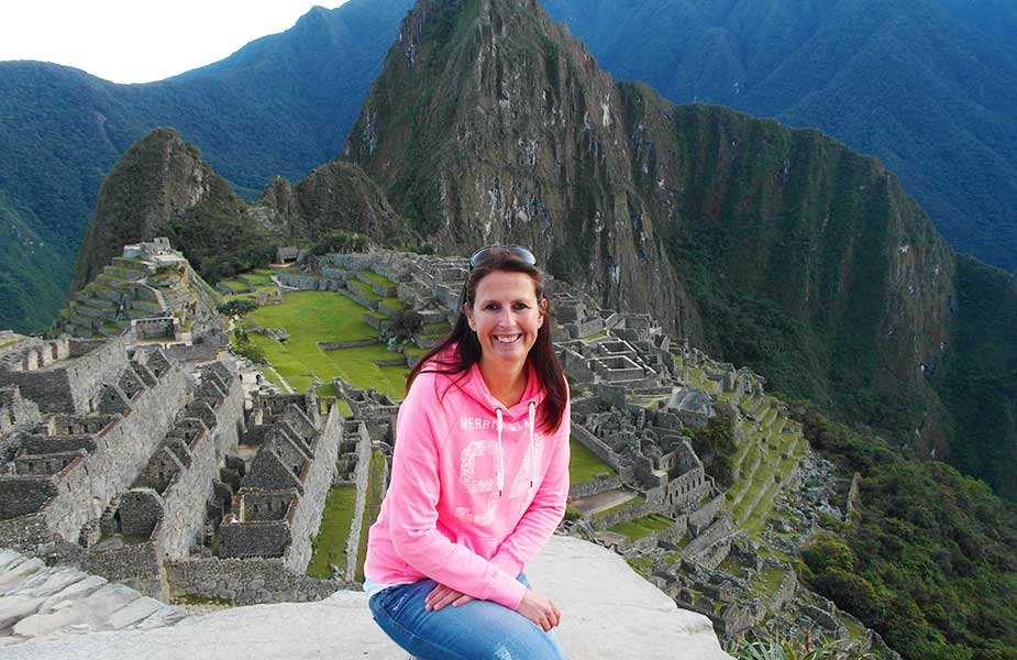 Sylvia bij Machu Picchu in Peru