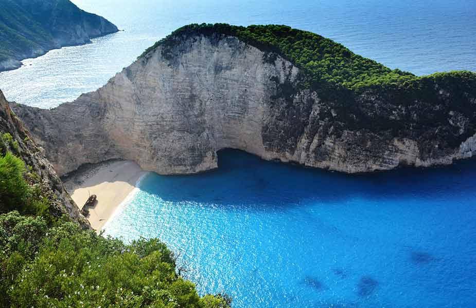 Het wrak op het strand van Zakynthos in Griekenland