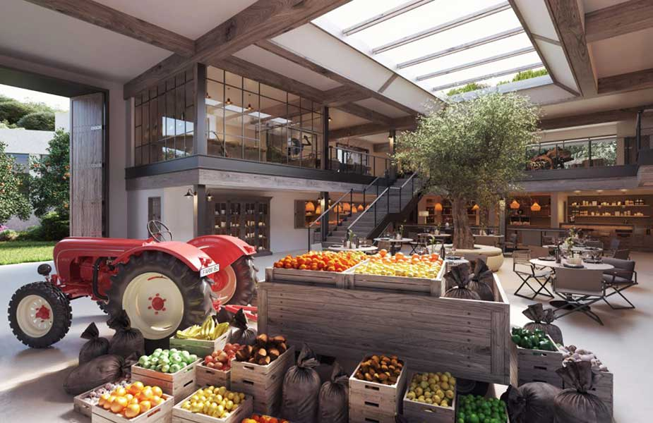 Markt met groenten en fruit in Six Senses