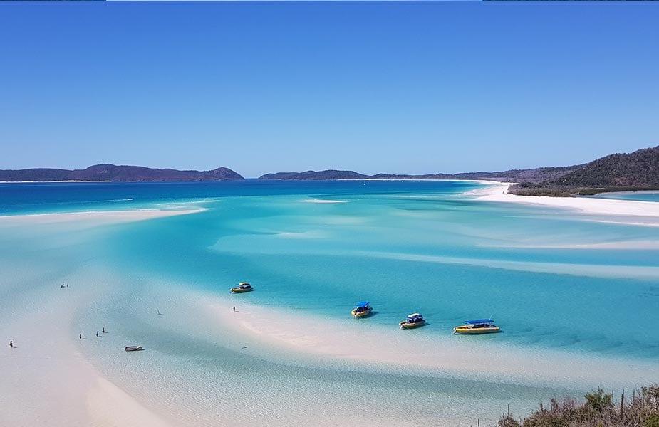 Het prachtige strand van Whitehaven beach in Australië