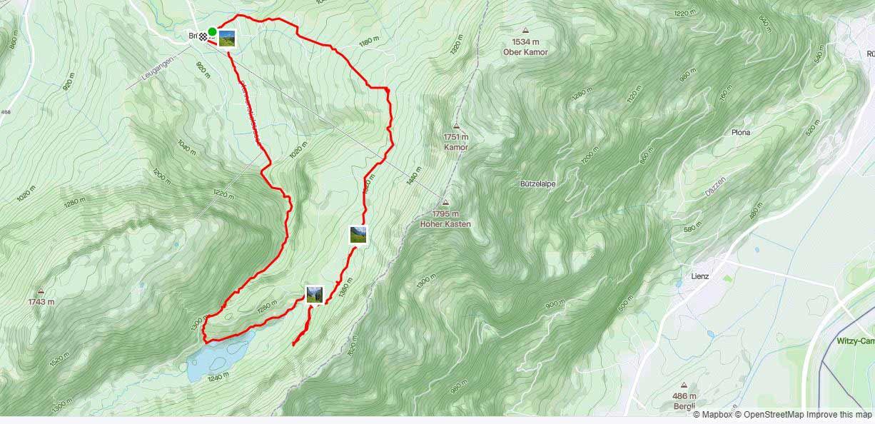 De route van de hike naar de Samtisersee
