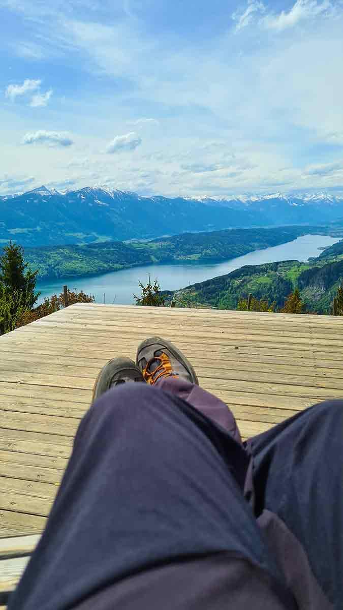 Relaxt genieten van het uitzicht op de Millstattersee