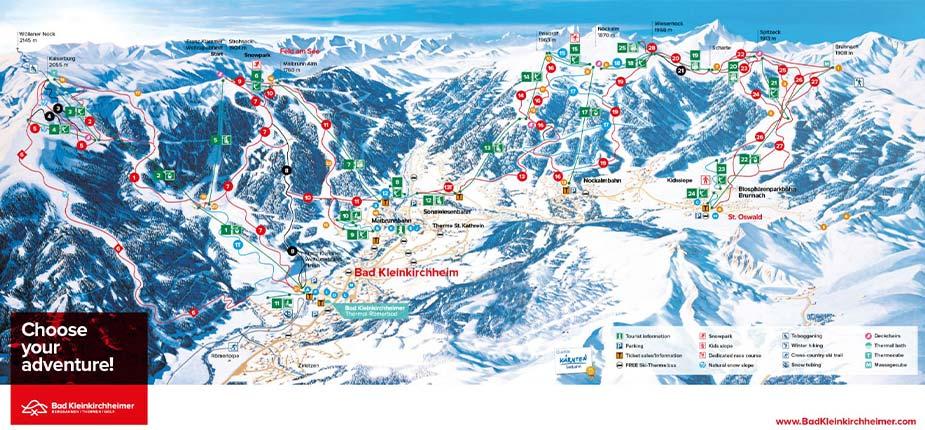 Overzicht van de pistes en skiliften