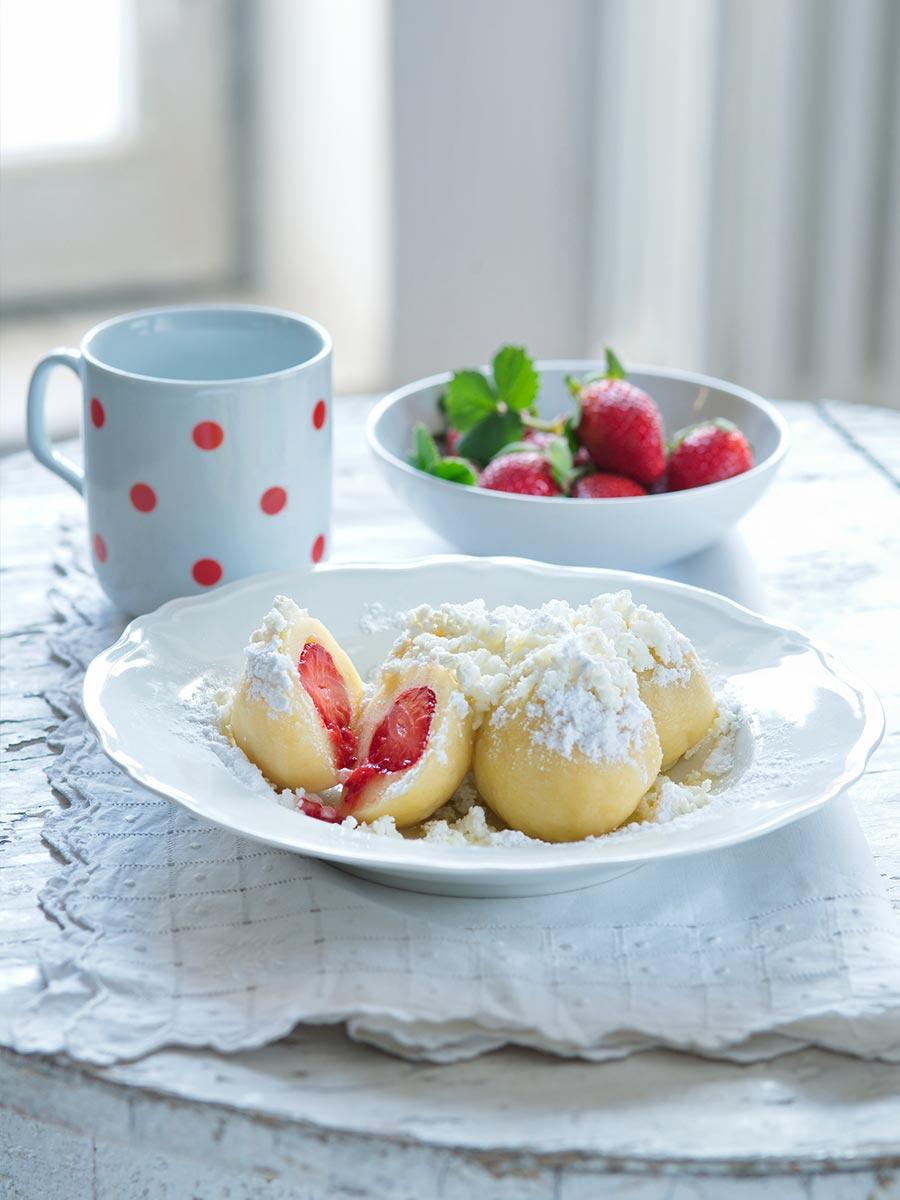 Fruitknoedel gerecht, lekker om te eten in Tsjechie