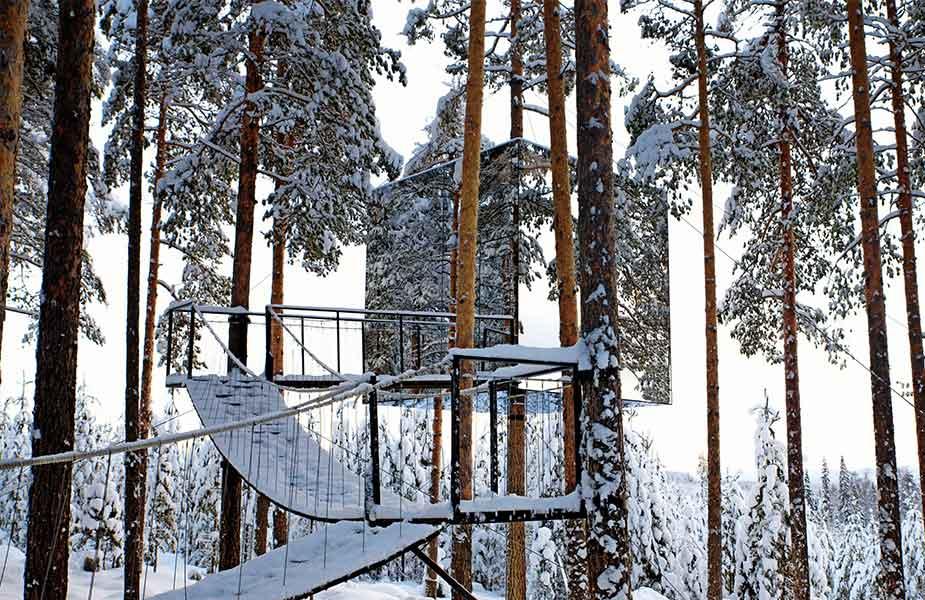 Slapen in boomhut in Lapland in het Tree hotel